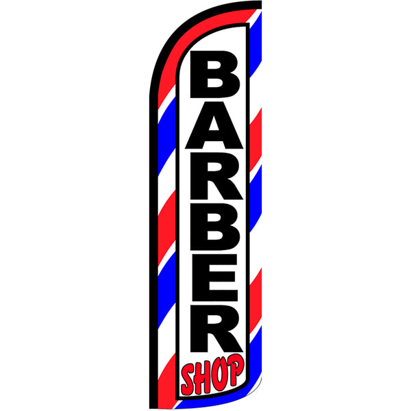 Barber Shop Windless Polyknit Feather Flag with Bundle Option (3 x 11.5 Feet)