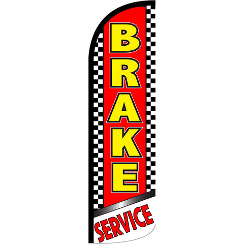 Brake Service (Checkered) Windless Polyknit Feather Flag with Bundle Option (3 x 11.5 Feet)