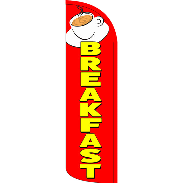 Breakfast (Red/Yellow/Cup) Windless Polyknit Feather Flag with Bundle Option (3 x 11.5 Feet)
