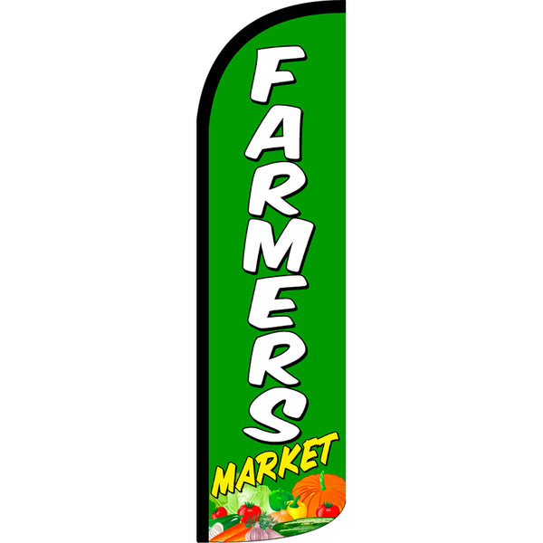 Farmers Market Windless Polyknit Feather Flag with Bundle Option (3 x 11.5 Feet)