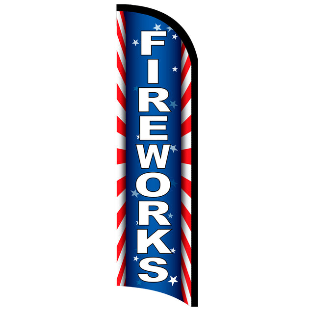 Fireworks (Starburst) Windless Polyknit Feather Flag with Bundle Option (3 x 11.5 Feet)