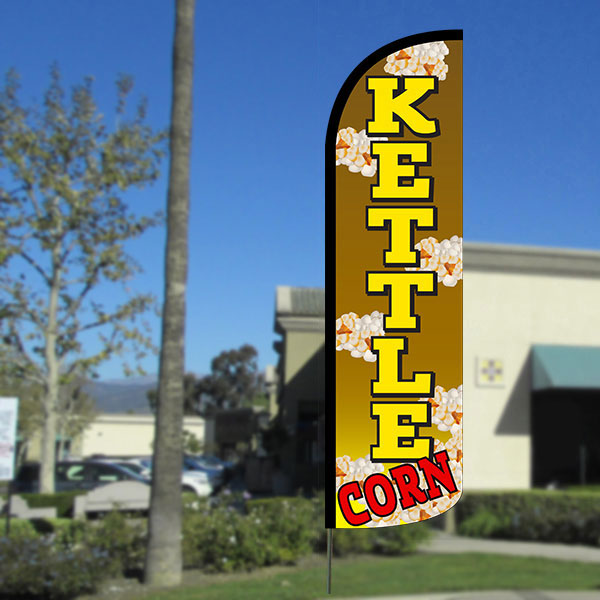 Kettle Corn Windless Polyknit Feather Flag with Bundle Option (3 x 11.5 Feet)