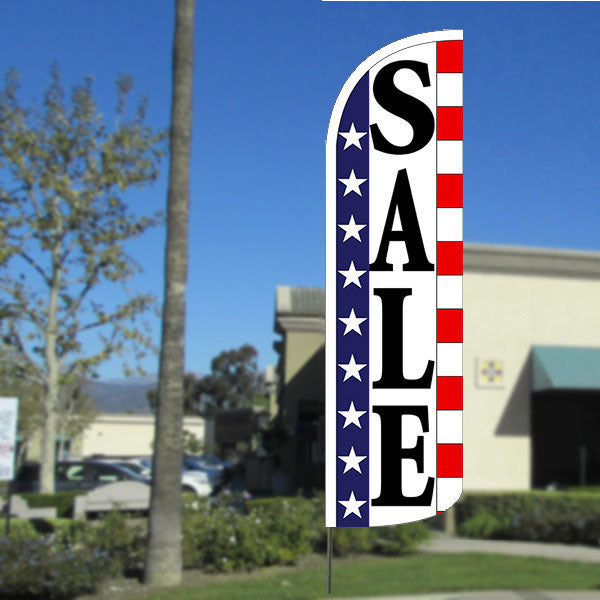 Sale (Stars & Stripes) Windless Polyknit Feather Flag with Bundle Option (3 x 11.5 Feet)