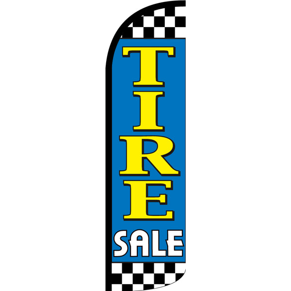 Tire Sale (Light Blue/Checkered) Windless Polyknit Feather Flag with Bundle Option (3 x 11.5 Feet)