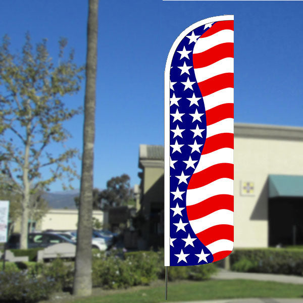 Us Flag with Bundle Option Pattern (Horizontal Waves) Windless Polyknit Feather Flag with Bundle Option (3 x 11.5 Feet)