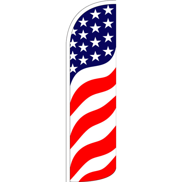 Us Flag with Bundle Option Pattern (Waves) Windless Polyknit Feather Flag with Bundle Option (3 x 11.5 Feet)