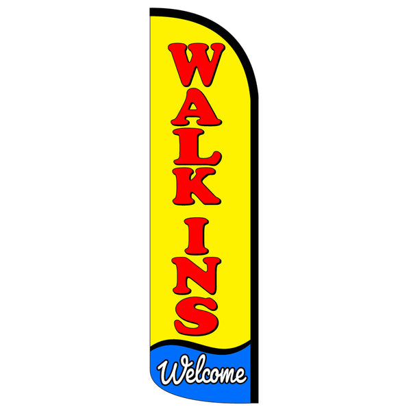 Walk-Ins Welcome Windless Polyknit Feather Flag with Bundle Option (3 x 11.5 Feet)