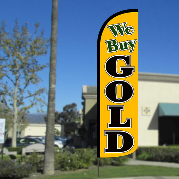 We Buy Gold Windless Polyknit Feather Flag with Bundle Option (3 x 11.5 Feet)