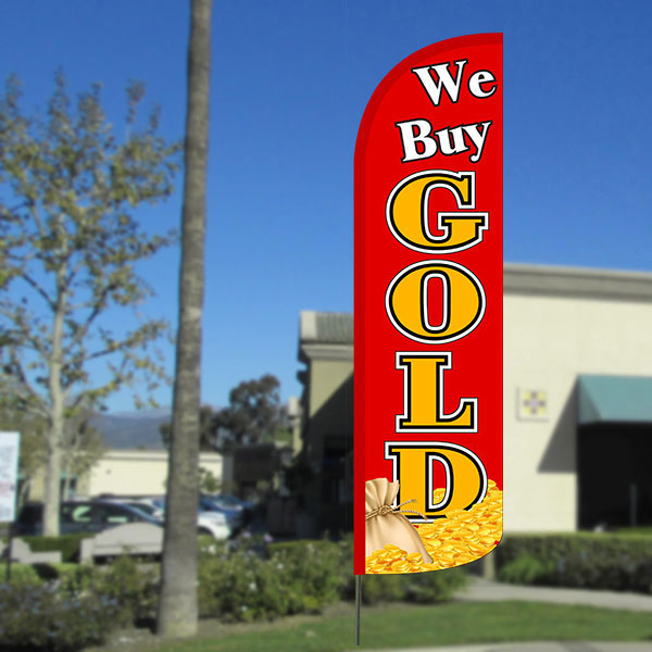 We Buy Gold (Red/Gold/Coins) Windless Polyknit Feather Flag with Bundle Option (3 x 11.5 Feet)