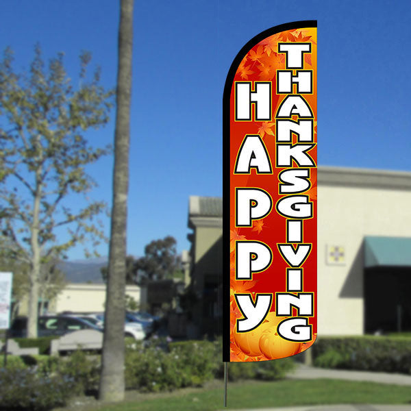 Happy Thanksgiving Windless Polyknit Feather Flag with Bundle Option (3 x 11.5 Feet)