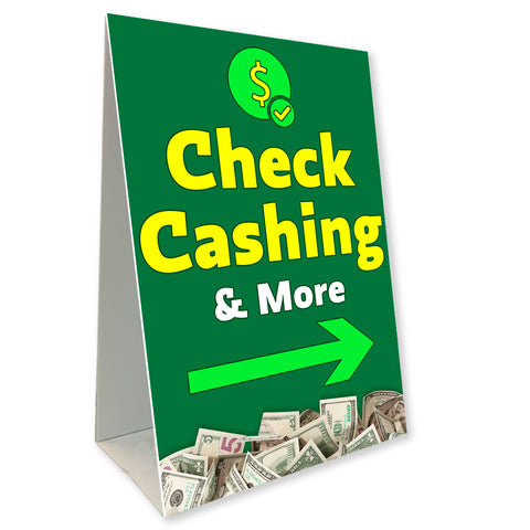 "Check Cashing Economy A-Frame Sign 24"" wide by 36"" tall (Made in the USA)"