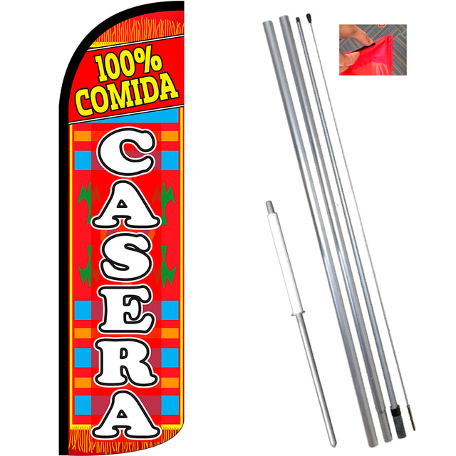 100% Comida Casera Windless Feather Banner Flag Kit (Flag, Pole, & Ground Mt)