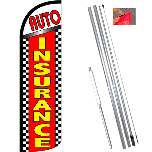 Auto Insurance (Checkered) Windless Feather Banner Flag Kit (Flag, Pole, & Ground Mt)
