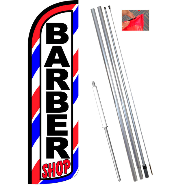 Barber Shop (Red/White/Blue) Windless Feather Banner Flag Kit (Flag, Pole, & Ground Mt)