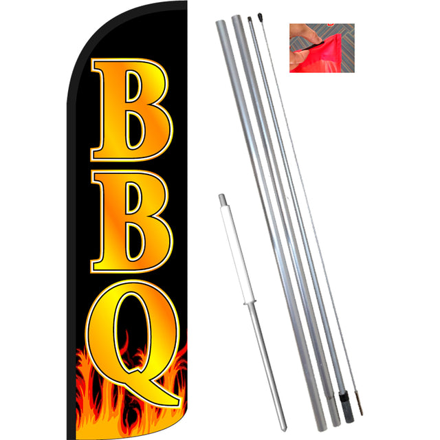 BBQ Windless Feather Banner Flag Kit (Flag, Pole, & Ground Mt)