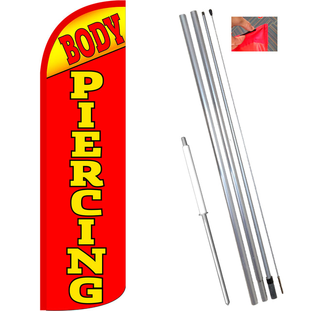 Body Piercing Windless Feather Banner Flag Kit (Flag, Pole, & Ground Mt)