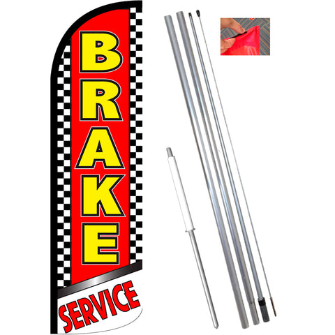 Brake Service (Checkered) Windless Feather Banner Flag Kit (Flag, Pole, & Ground Mt)