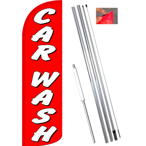 Car Wash (Red/White) Windless Feather Banner Flag Kit (Flag, Pole, & Ground Mt)
