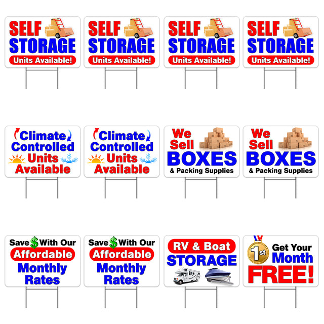 "Self Storage 12 Pack Yard Sign - Each is 24"" x 16"" (with Metal Stake) Single Sided Print - Made in the USA"
