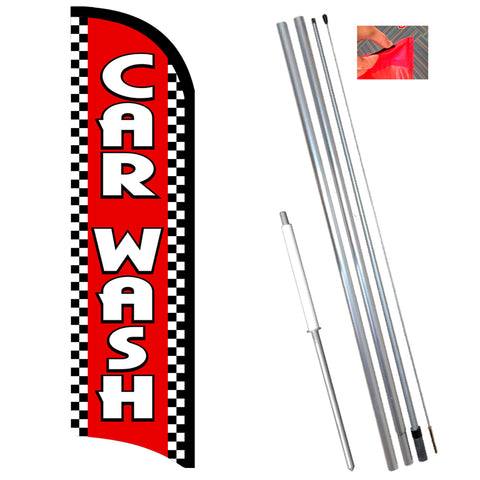 Car Wash (Red/Checkered) Premium Windless-Style Feather Flag Bundle 14' OR Replacement Flag Only 11.5'