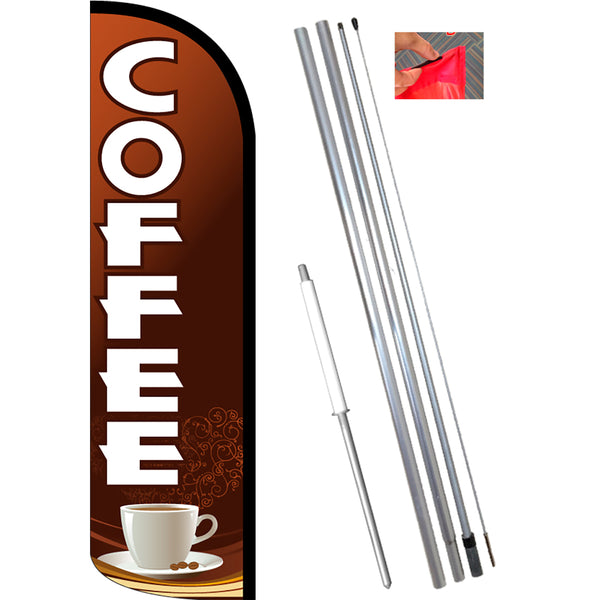 Coffee (Brown/White) Windless Feather Banner Flag Kit (Flag, Pole, & Ground Mt)