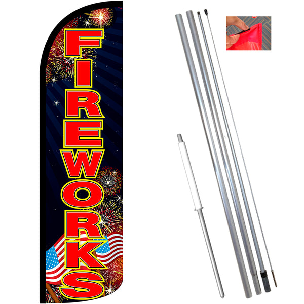 Fireworks (Black/Red) Windless Feather Banner Flag Kit (Flag, Pole, & Ground Mt)