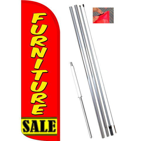 Furniture Sale (Red/Yellow) Windless Feather Banner Flag Kit (Flag, Pole, & Ground Mt)