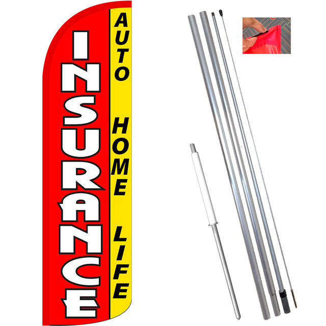 Insurance Auto, Home, Life (Red/Yellow) Windless Feather Banner Flag Kit (Flag, Pole, & Ground Mt)