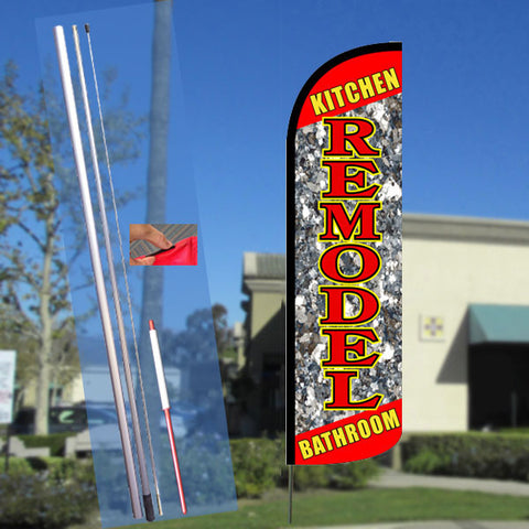 Kitchen Bathroom Remodel Windless Feather Banner Flag Kit (Flag, Pole, & Ground Mt)