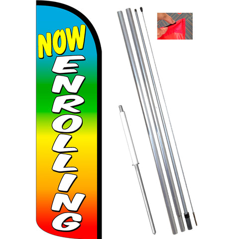 Now Enrolling (Multicolor) Windless Feather Banner Flag Kit (Flag, Pole, & Ground Mt)