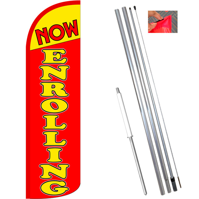 Now Enrolling (Yellow/Red)) Windless Feather Banner Flag Kit (Flag, Pole, & Ground Mt)