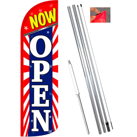 Now Open (Starburst) Windless Feather Banner Flag Kit (Flag, Pole, & Ground Mt)