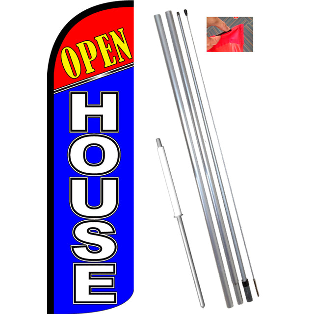 Open House (Red/Blue) Windless Feather Banner Flag Kit (Flag, Pole, & Ground Mt)