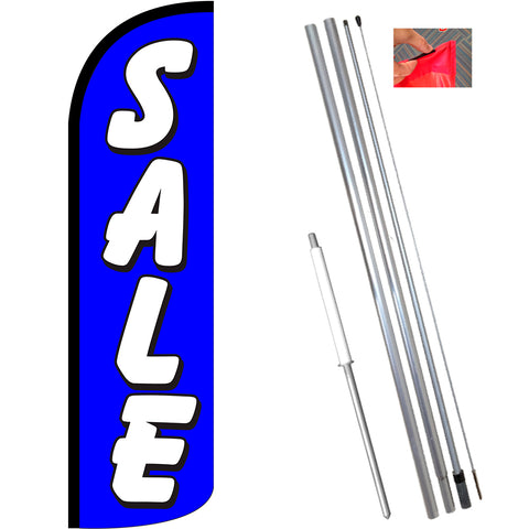 Sale (Blue) Windless Feather Banner Flag Kit (Flag, Pole, & Ground Mt)