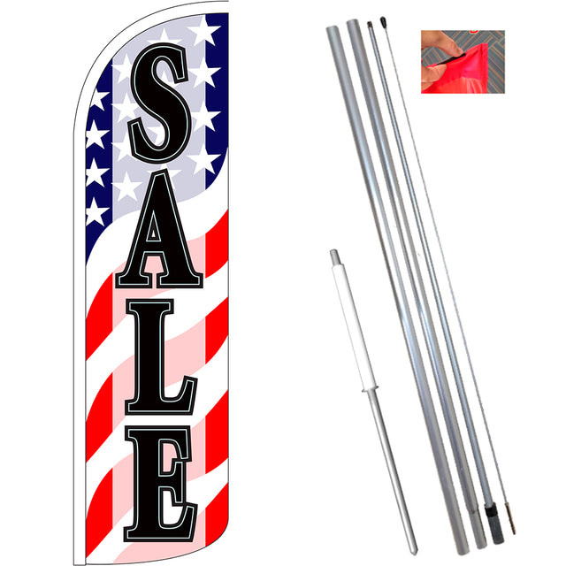 Sale (Patriotic Waves) Windless Feather Banner Flag Kit (Flag, Pole, & Ground Mt)