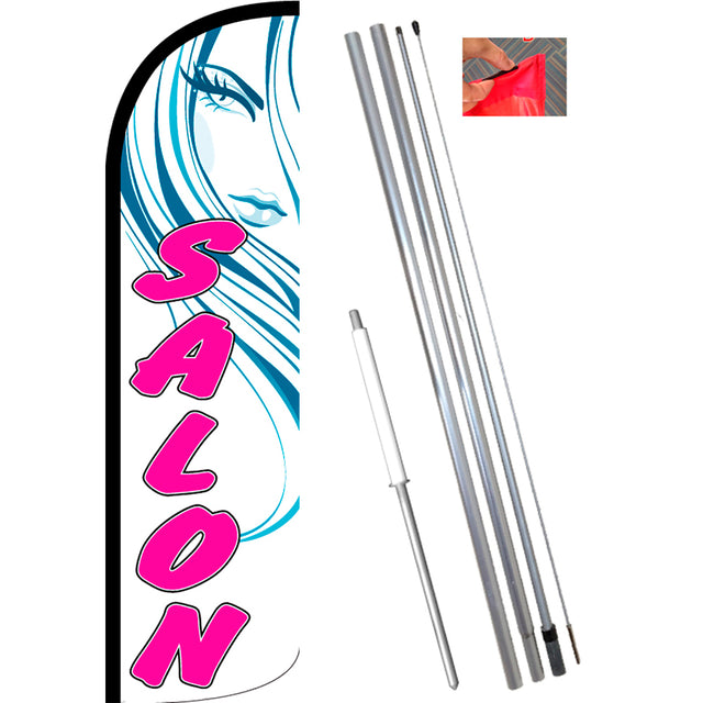 Salon (White/Pink) Windless Feather Banner Flag Kit (Flag, Pole, & Ground Mt)