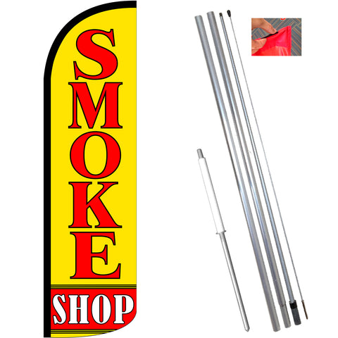 Smoke Shop Windless Feather Banner Flag Kit (Flag, Pole, & Ground Mt)