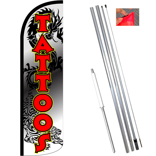 Tattoos (White/Red) Windless Feather Banner Flag Kit (Flag, Pole, & Ground Mt)