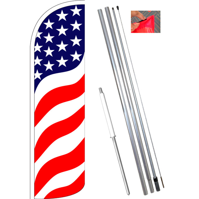 US Flag Pattern (Waves) Windless Feather Banner Flag Kit (Flag, Pole, & Ground Mt)