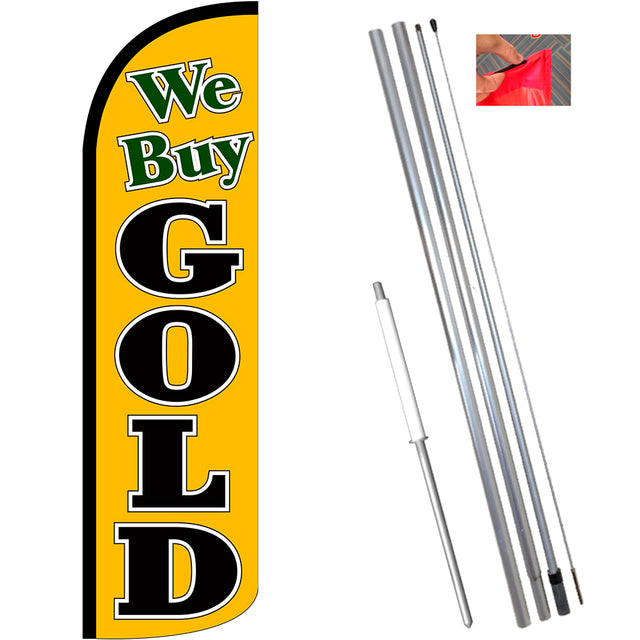 We Buy Gold (Gold/Black) Windless Feather Banner Flag Kit (Flag, Pole, & Ground Mt)