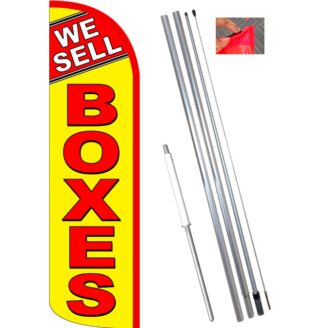 We Sell Boxes (Yellow/Red) Windless Feather Banner Flag Kit (Flag, Pole, & Ground Mt)