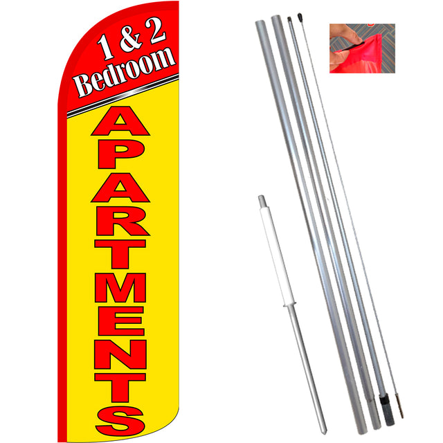 1 & 2 Bedroom Apartments Windless Feather Banner Flag Kit (Flag, Pole, & Ground Mt)