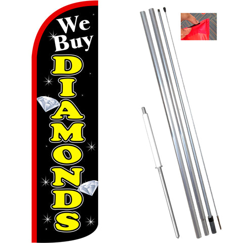 We Buy Diamonds (Black/Yellow) Windless Feather Banner Flag Kit (Flag, Pole, & Ground Mt)