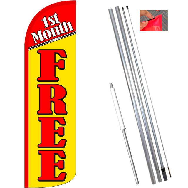 1st Month Free Windless Feather Banner Flag Kit (Flag, Pole, & Ground Mt)