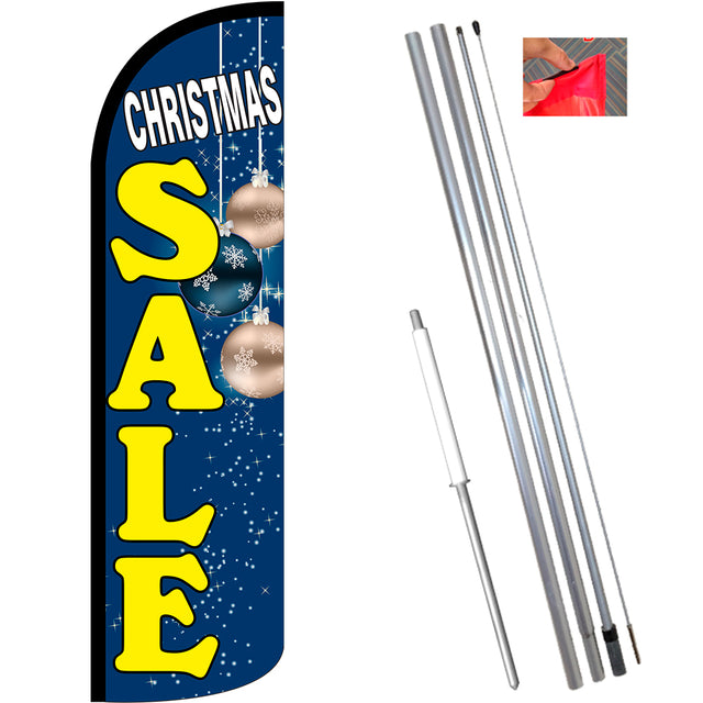 Christmas Sale (Blue) Windless Feather Banner Flag Kit (Flag, Pole, & Ground Mt)