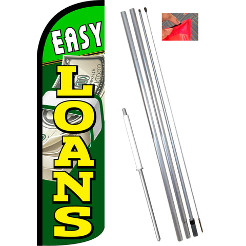 Easy Loans Windless Feather Banner Flag Kit (Flag, Pole, & Ground Mt)
