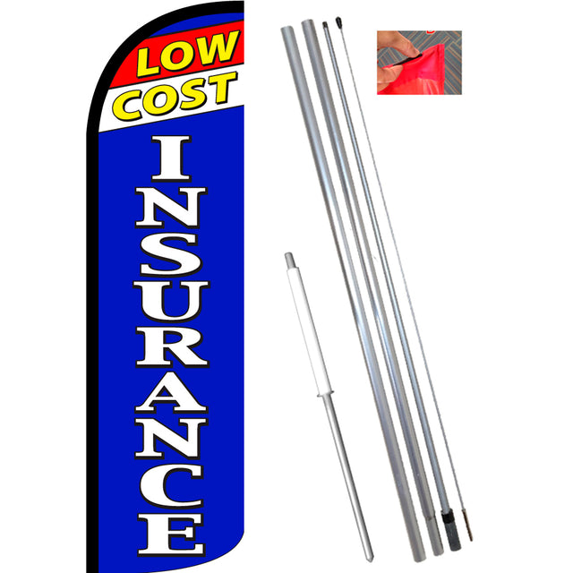 Low Cost Insurance Windless Feather Banner Flag Kit (Flag, Pole, & Ground Mt)