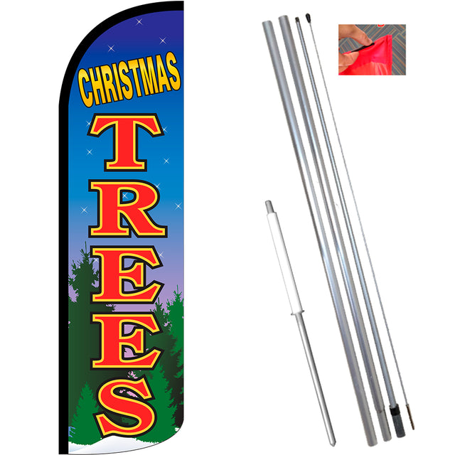 Christmas Trees Windless Feather Banner Flag Kit (Flag, Pole, & Ground Mt)