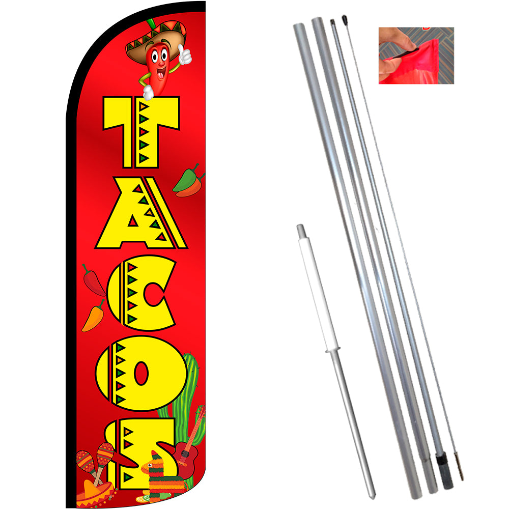 one 1 TACOS 15 WINDLESS SWOOPER FLAG KIT
