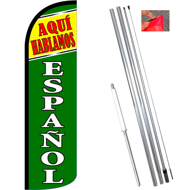 Aqui Hablamos Espanol Windless Feather Banner Flag Kit (Flag, Pole, & Ground Mt)